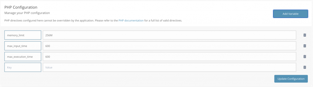 PHP Configuration in our platform